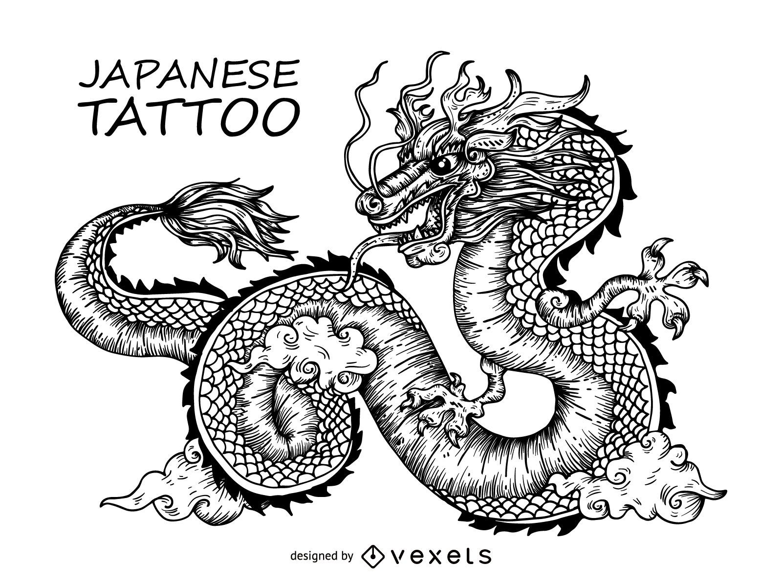 Japanese Dragon Tattoo Design Vector Download