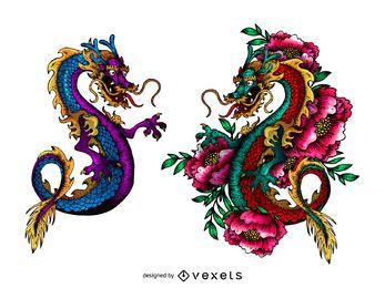 Desenho de tatuagem de dragões asiáticos coloridos