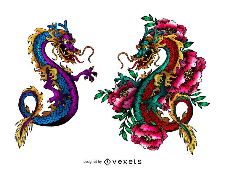 Colorful asian dragons tattoo design