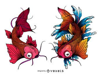 Tatuagem de peixe koi carpa japonesa