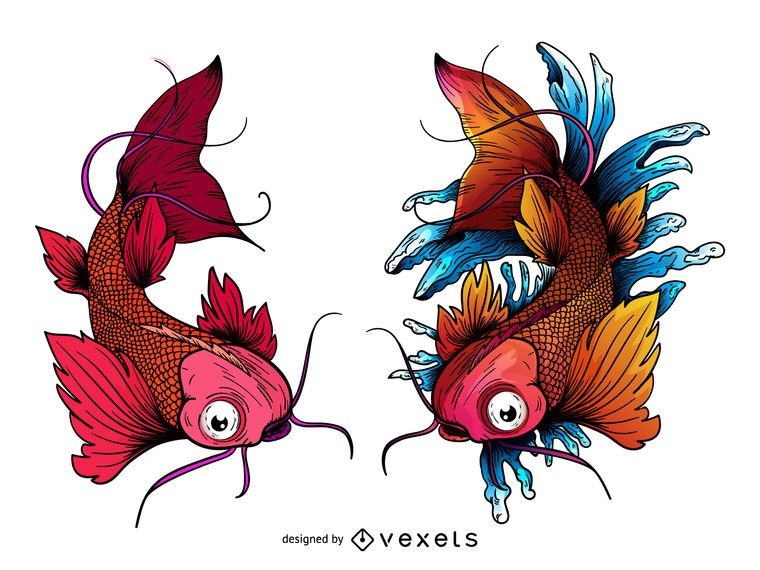 Tatuaje japons de peces carpa koi Descargar vector