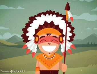 Ilustración de nativo americano masculino