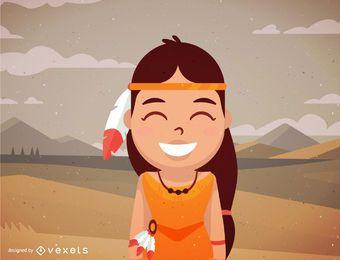Desenhos animados de personagem nativo americano feminino