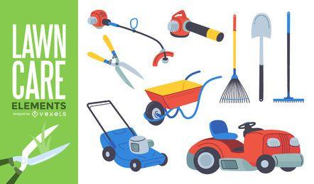 Conjunto de ferramentas de jardinagem de cuidados do gramado