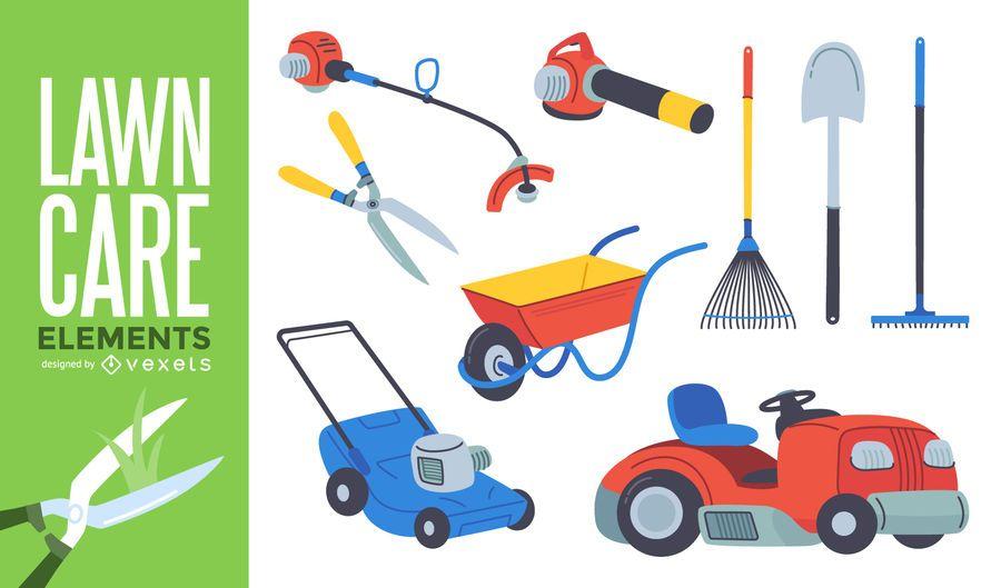 Set de herramientas de jardinería para el cuidado del césped.