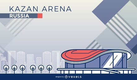 Kazan arena cartoon illustration