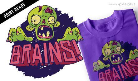 Diseño de camiseta zombies de cerebros.
