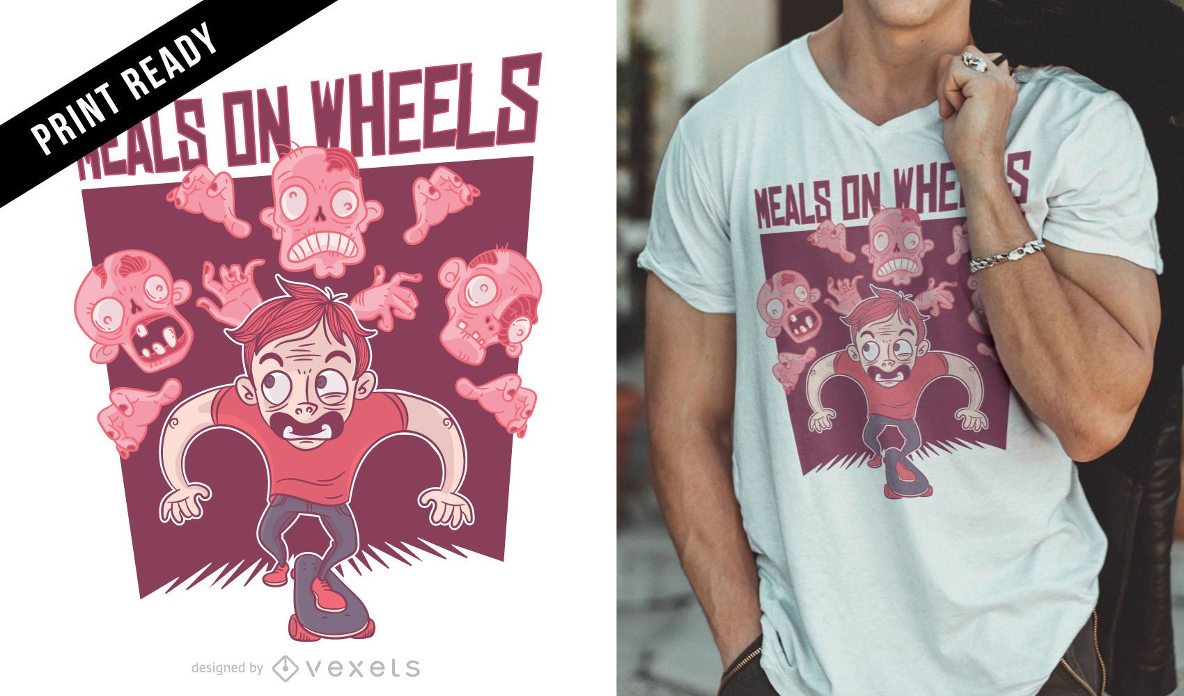 Diseño de camiseta Meals on Wheels.