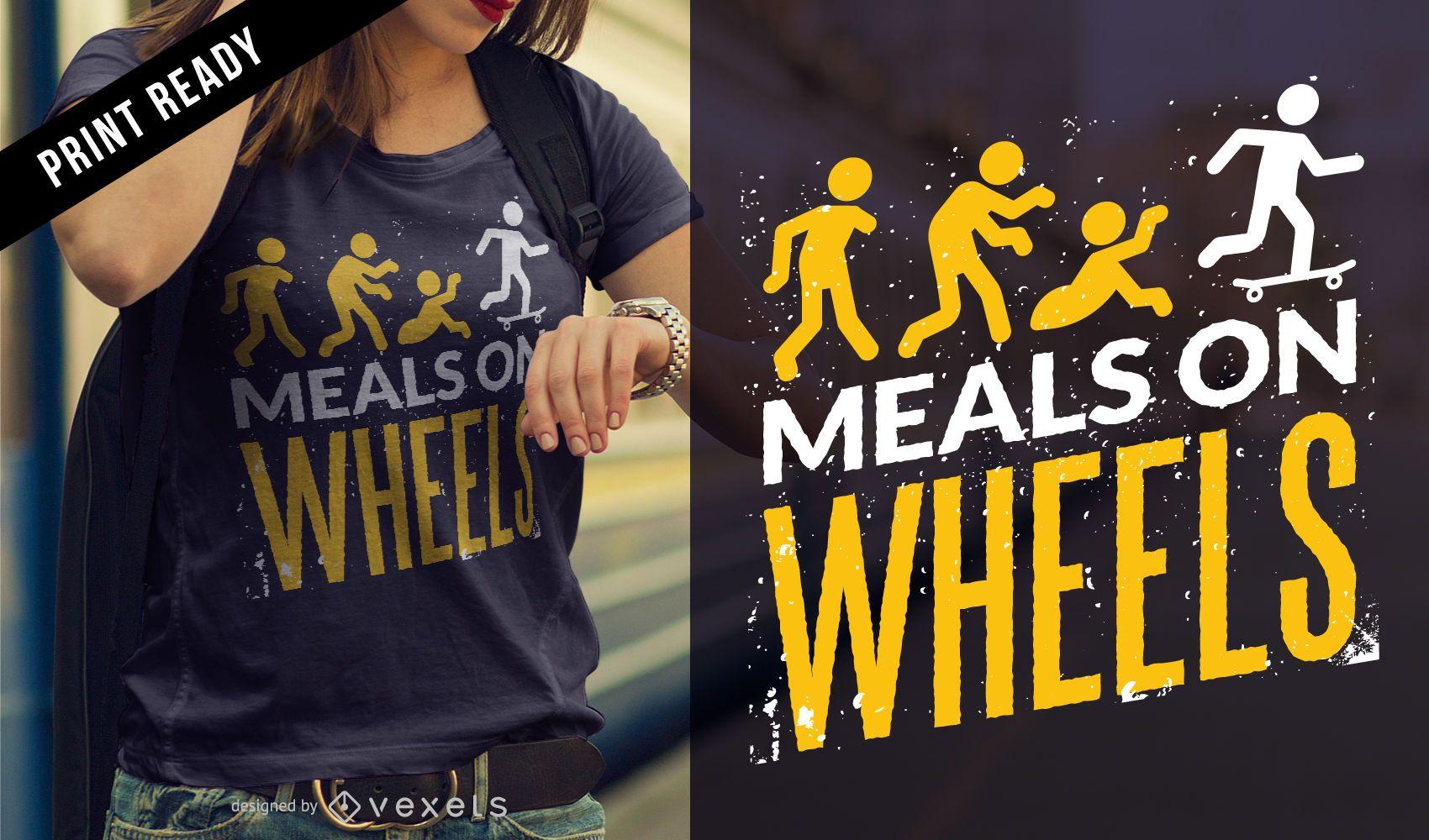 Diseño de camiseta de comidas zombie.