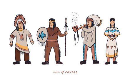 Conjunto de personajes de nativos americanos doodle