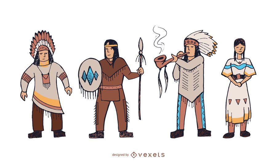 Conjunto de doodle de personajes nativos americanos