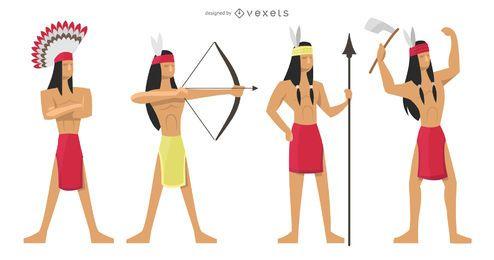 Conjunto de ilustração de índios guerreiros