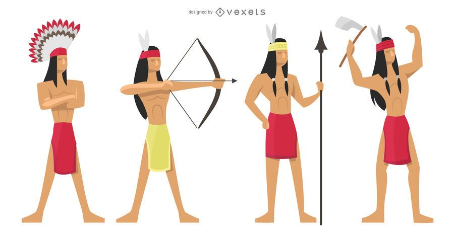 Indians warriors illustration set
