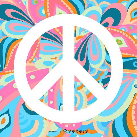 Signo de la paz sobre fondo de colores
