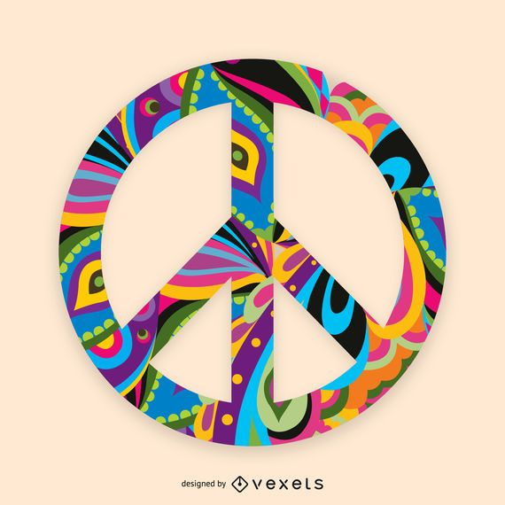 Ilustração de sinal de paz colorido