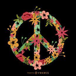 Flor incrustado símbolo de paz