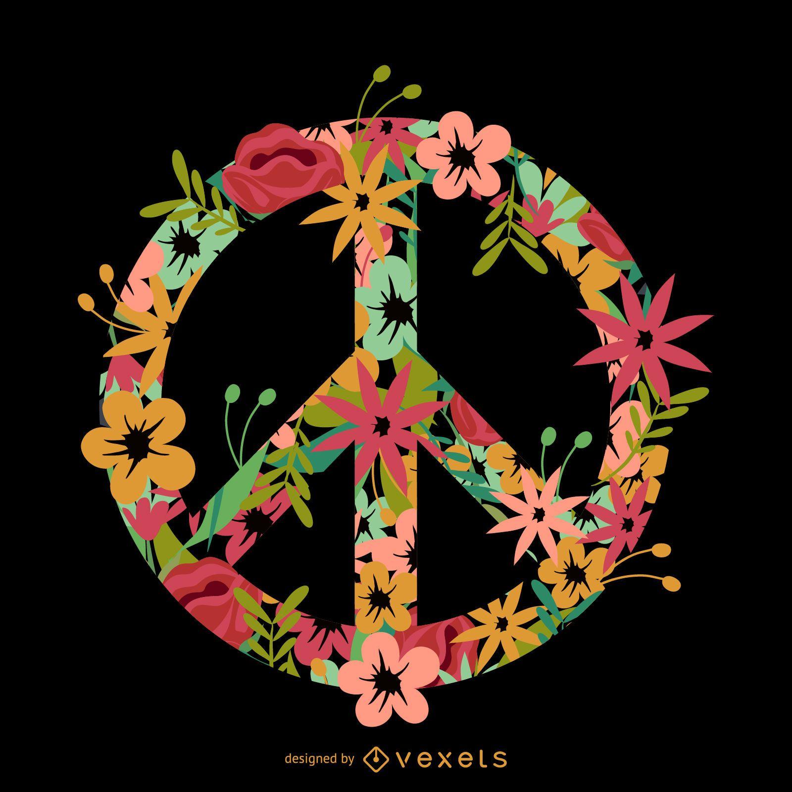 Símbolo de paz incrustado flor