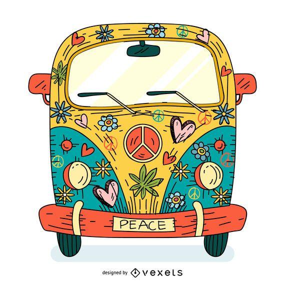 Desenhos animados coloridos da camionete da hippie
