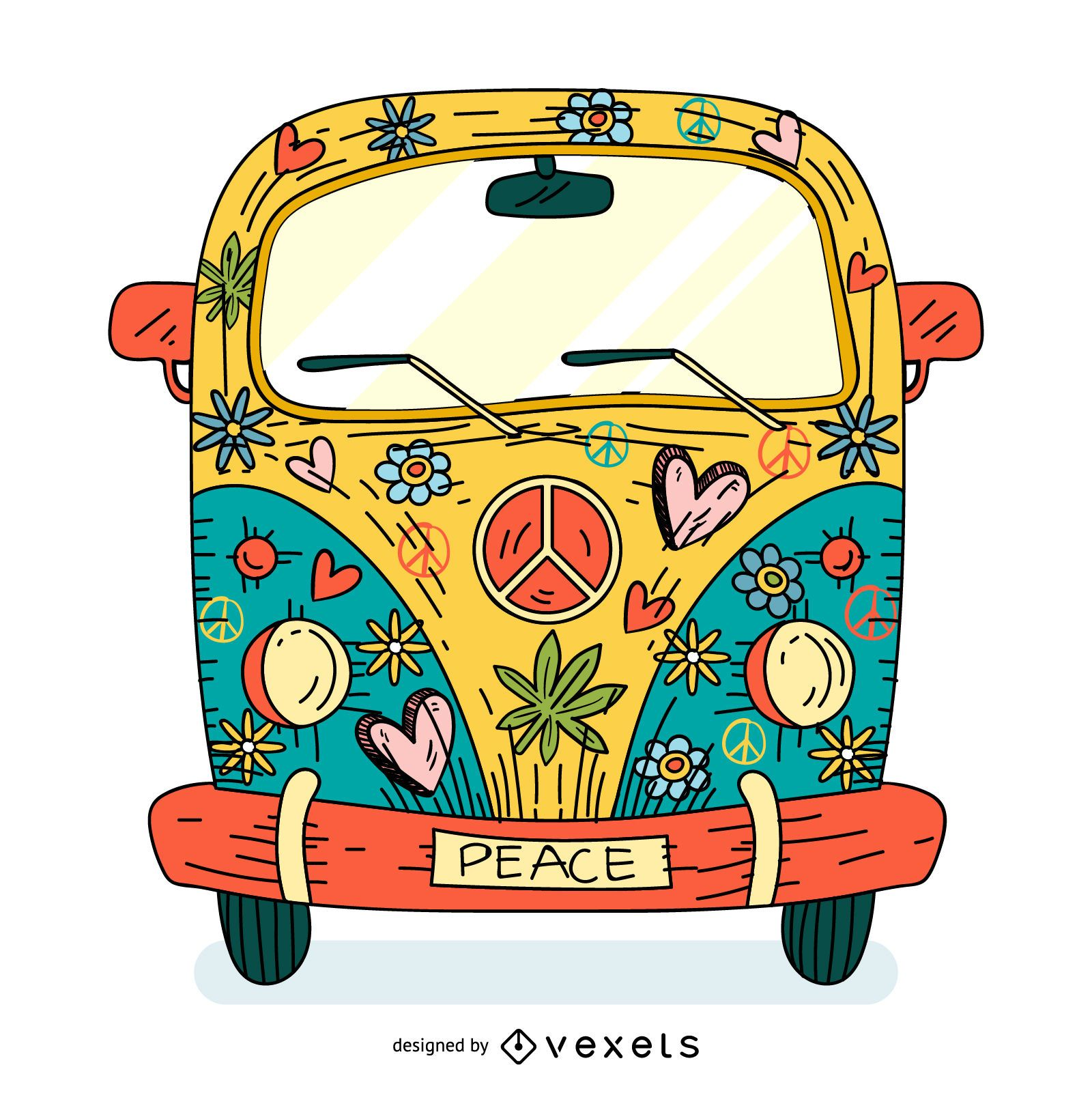 Colorful hippie van cartoon