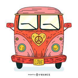 Dibujos animados de autobús hippie de amor