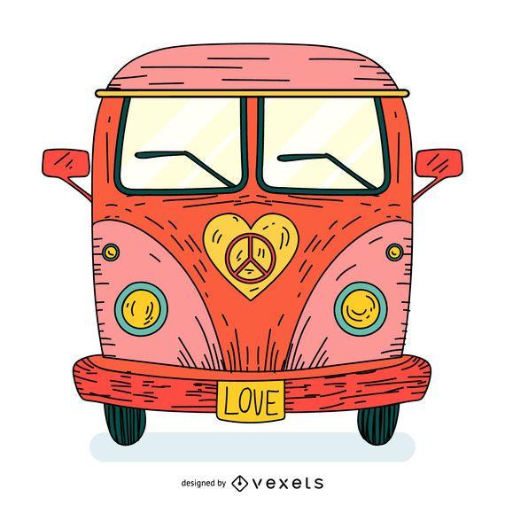 Amor hippie bus cartoon