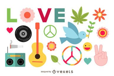 Conjunto de elementos de paz hippie plana