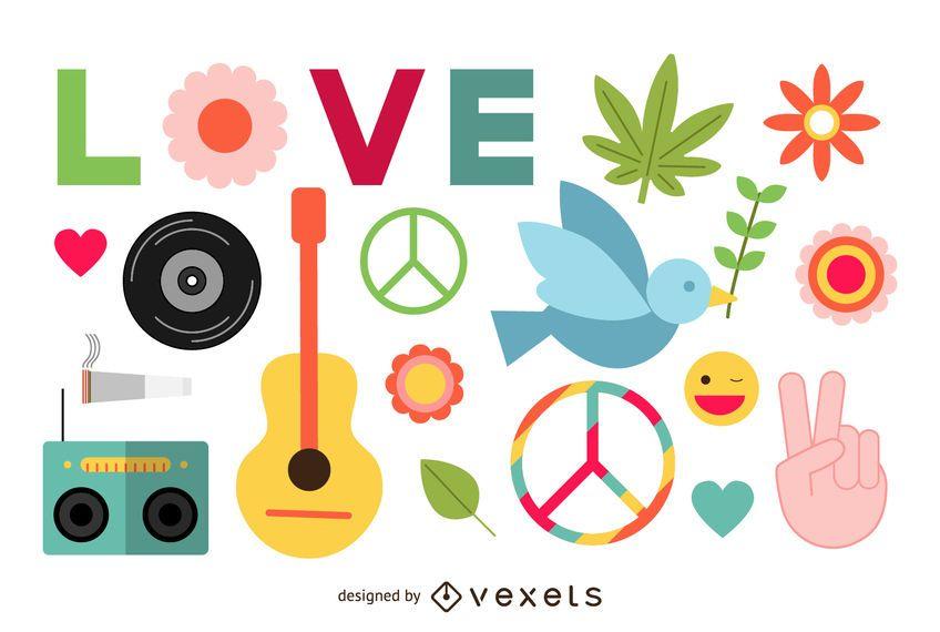 Conjunto de elementos de paz hippie planos.