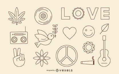 Conjunto de ícones de traçado hippie
