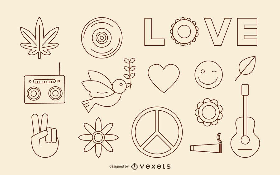 Hippie stroke icons set