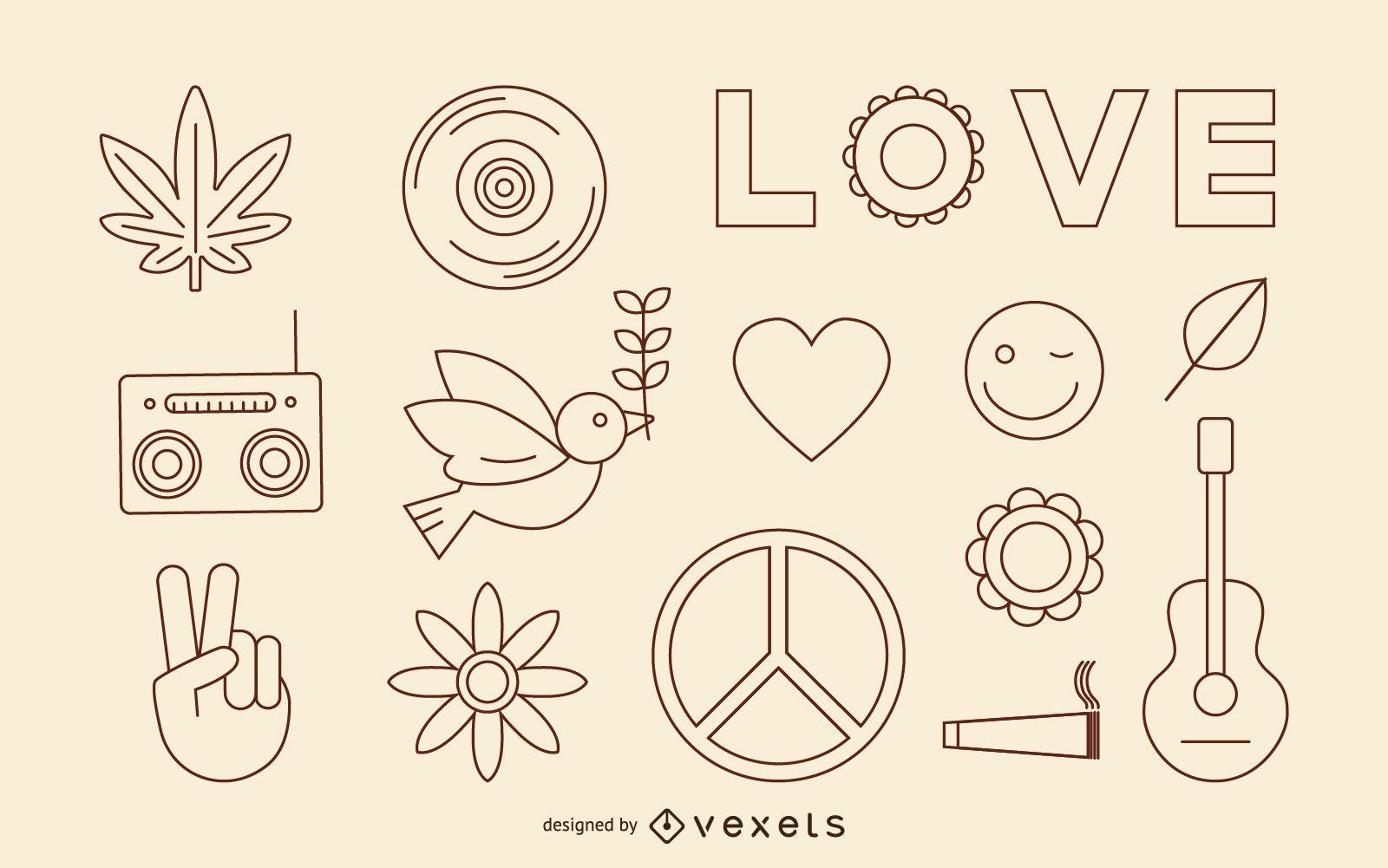 Conjunto de ícones de traço hippie