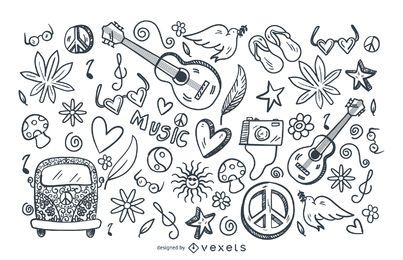 Conjunto de doodle de trazo hippie