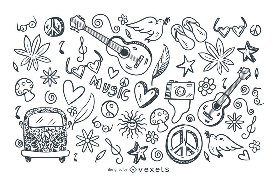 Hippie stroke doodle set
