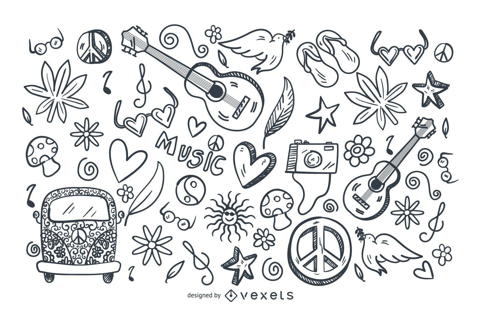 Conjunto de doodle de traço hippie
