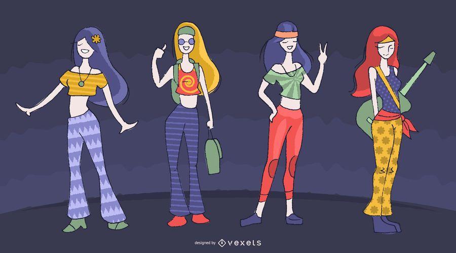 Conjunto de desenhos animados de personagens femininas hippie