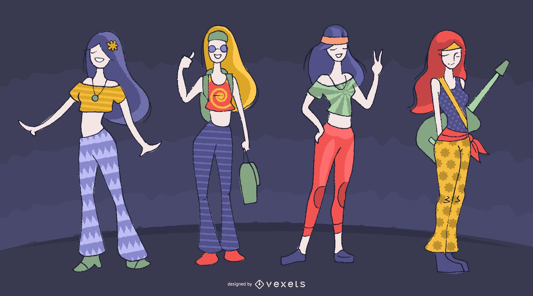 Female hippie characters cartoon set