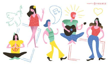Personajes hippie doodle conjunto