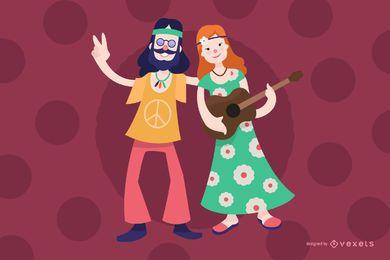 Desenhos animados de homem e mulher de hippie