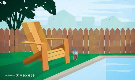Silla de jardín cerca de la ilustración de la piscina