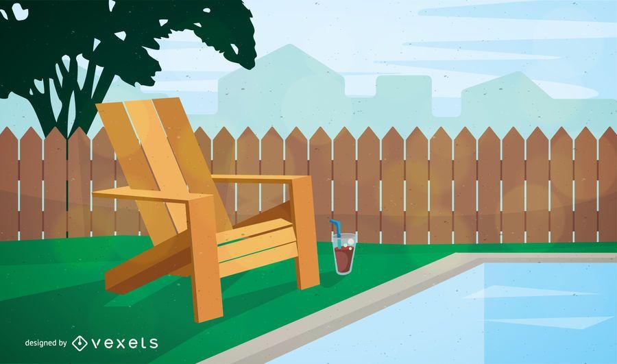 Garden chair near pool illustration
