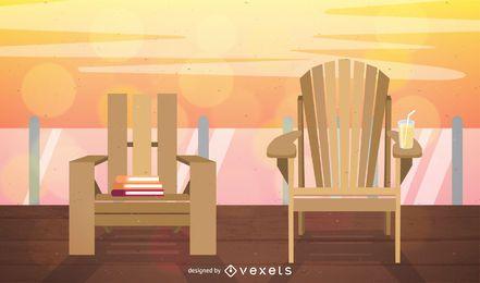Ilustración de terraza de sillas de jardín