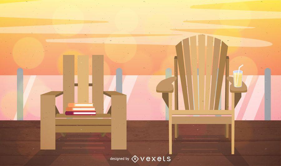 Garden chairs terrace illustration