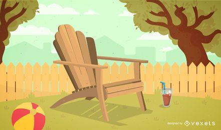 Ilustración de silla de jardín Adirondack