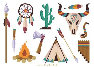Conjunto de elementos étnicos do nativo americano