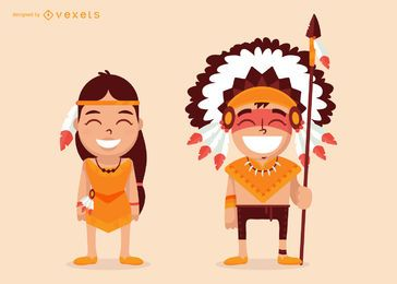 Desenhos animados de personagens nativos americanos