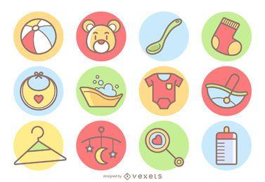 Conjunto de ícones de bebê fofo