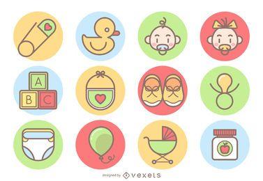 Colección de iconos lindo bebé