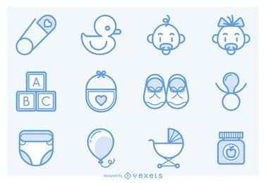 Schlaganfall-Baby-Icons-Sammlung