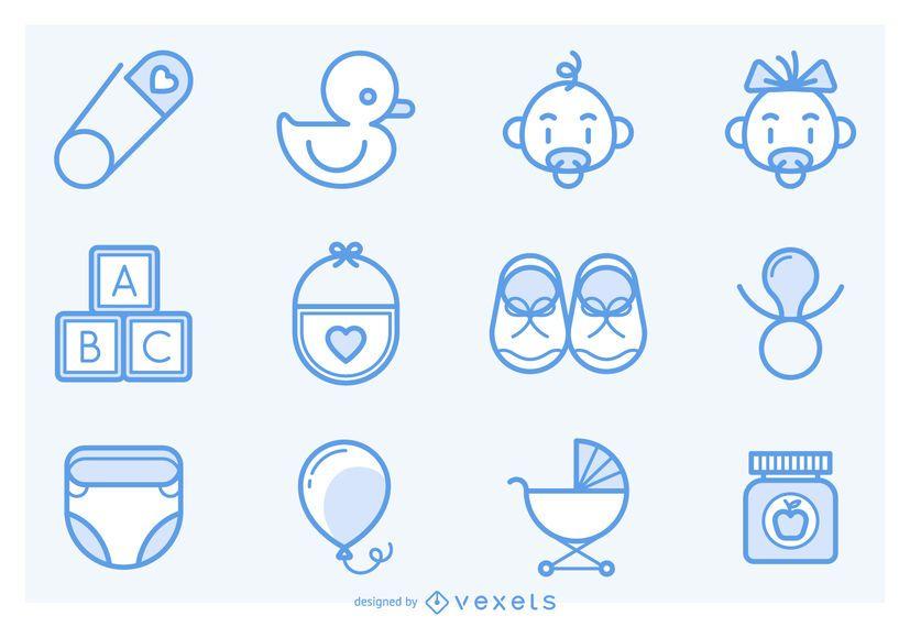 Coleção de ícones de bebê de acidente vascular cerebral