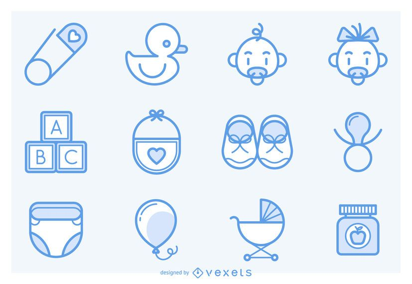 Stroke baby icons collection