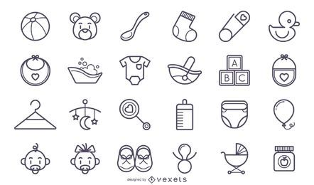 Conjunto de ícones de bebê bonito acidente vascular cerebral